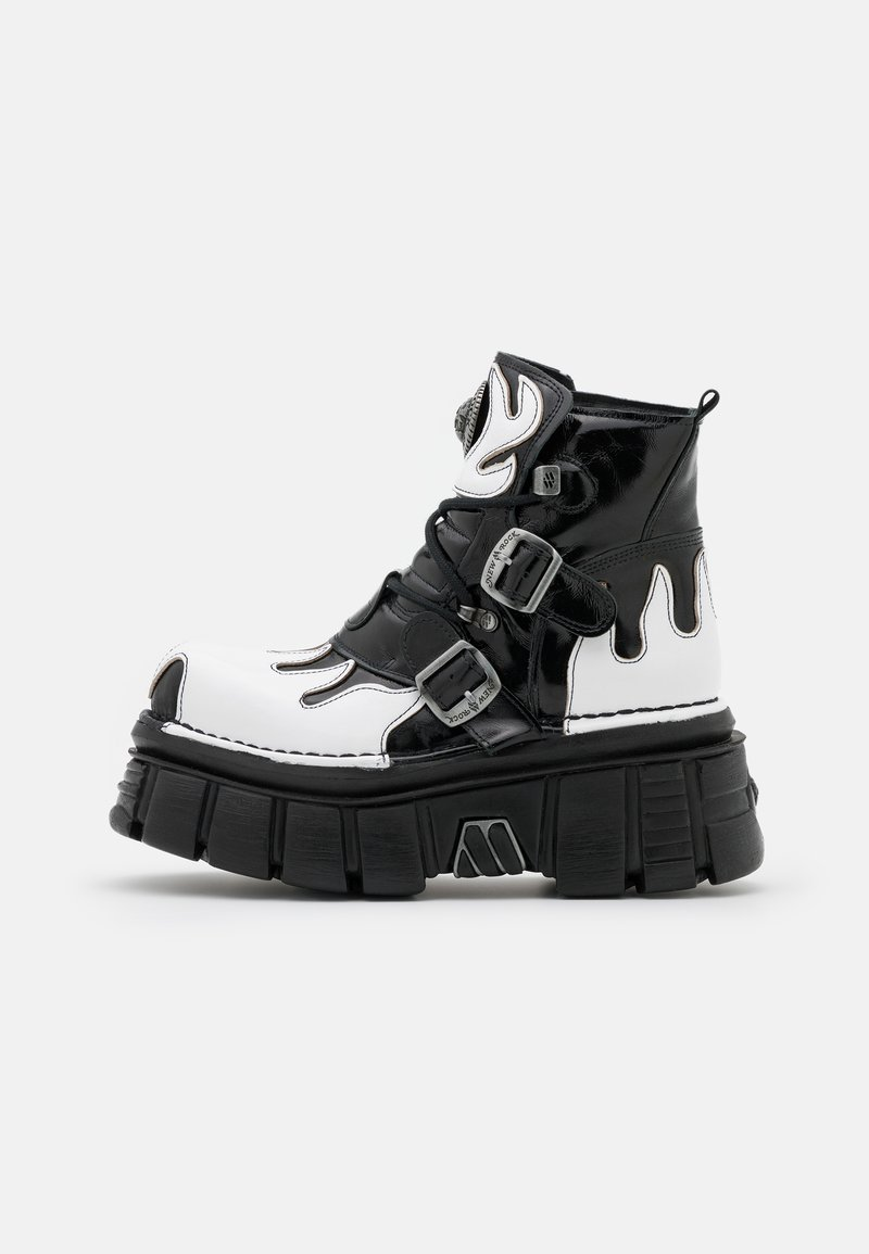New Rock - UNISEX - Lace-up ankle boots - black/white