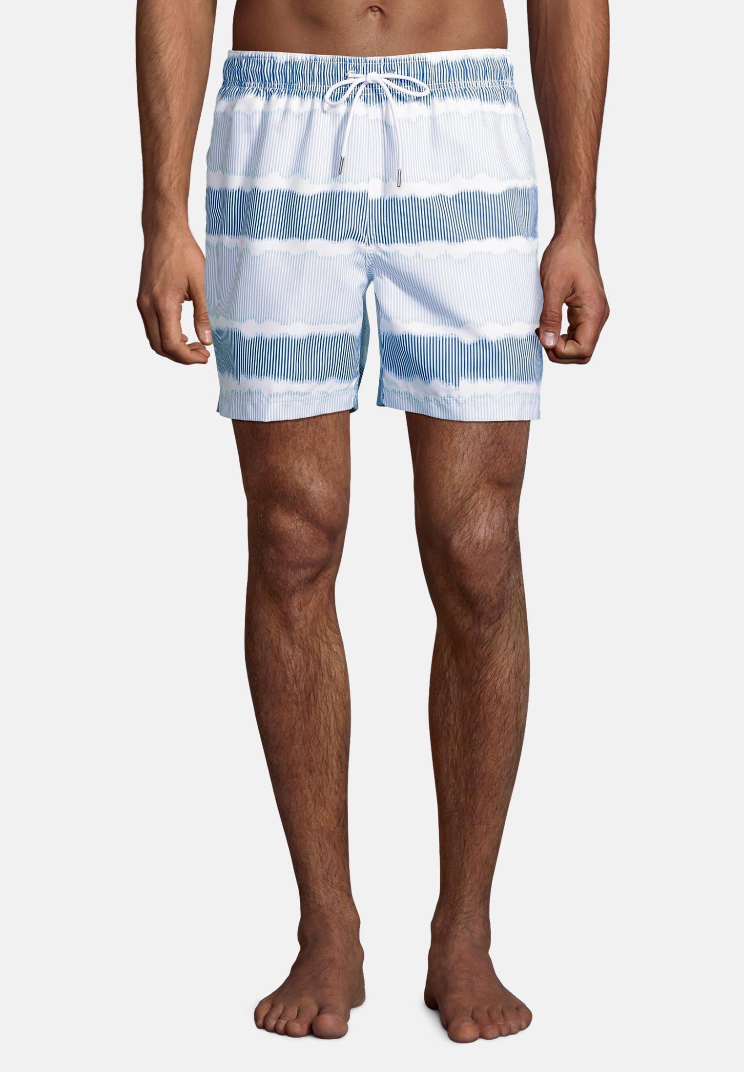 Herren Badeshorts - blue-white dyed stripe