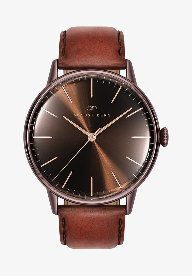 UHR SERENITY CUPPA BROWN DARK BROWN LEATHER 40MM - Orologio - sunray brown