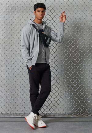 Zip-up hoodie - grey slub grindle