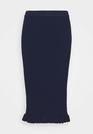 MIDI RUFFLE SKIRT - Blyantnederdel / pencil skirts - true navy