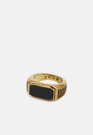 INLAY WITH WOVEN TEXTURED SIDES - Ring - gold-coloured