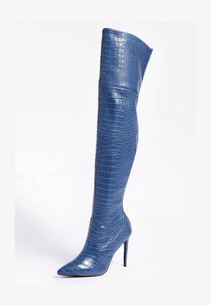 KROKO-PRINT - Over-the-knee boots - blau