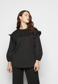 Simply Be - CARLY VOLUME SLEEVE - Sweatshirt - black - 0