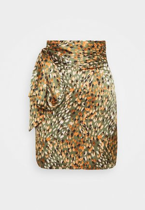 WILLOW PRINT MINI WRAP SKIRT - Minisukně - green