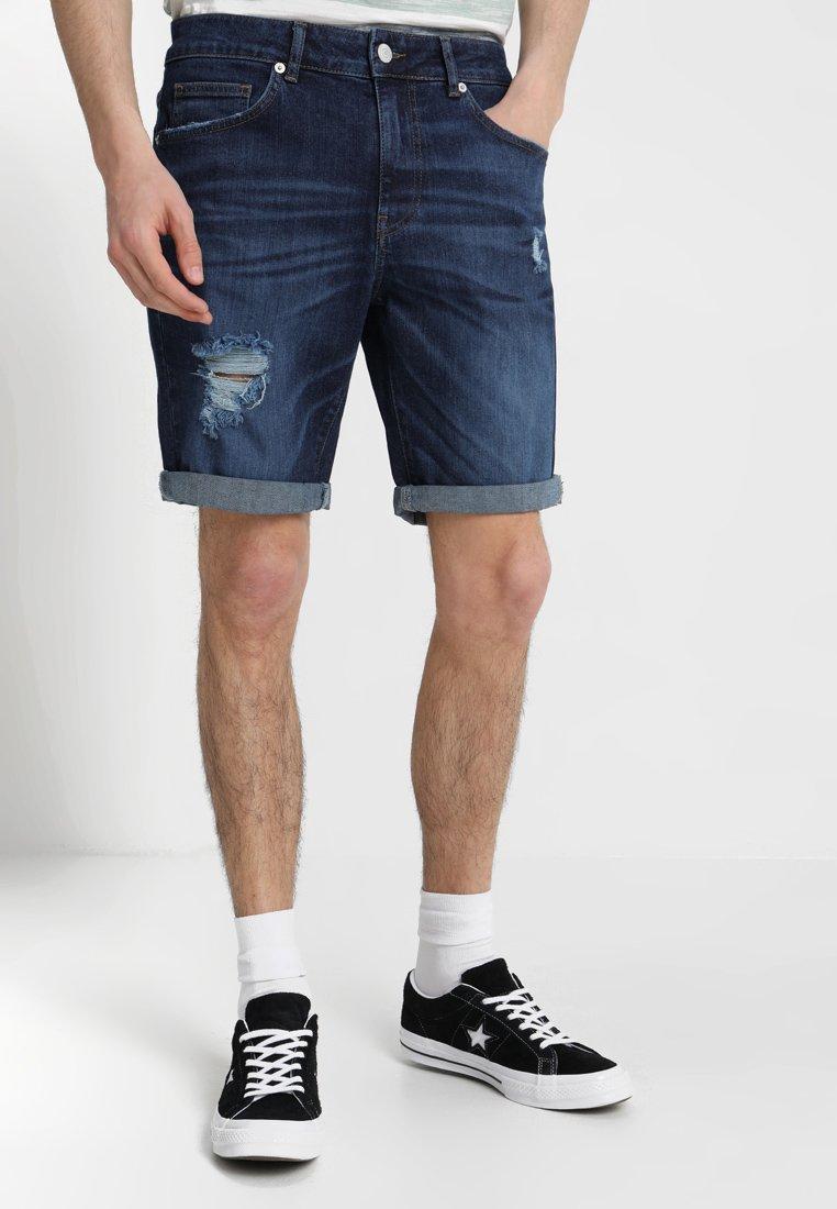YOURTURN - Denim shorts - dark-blue denim