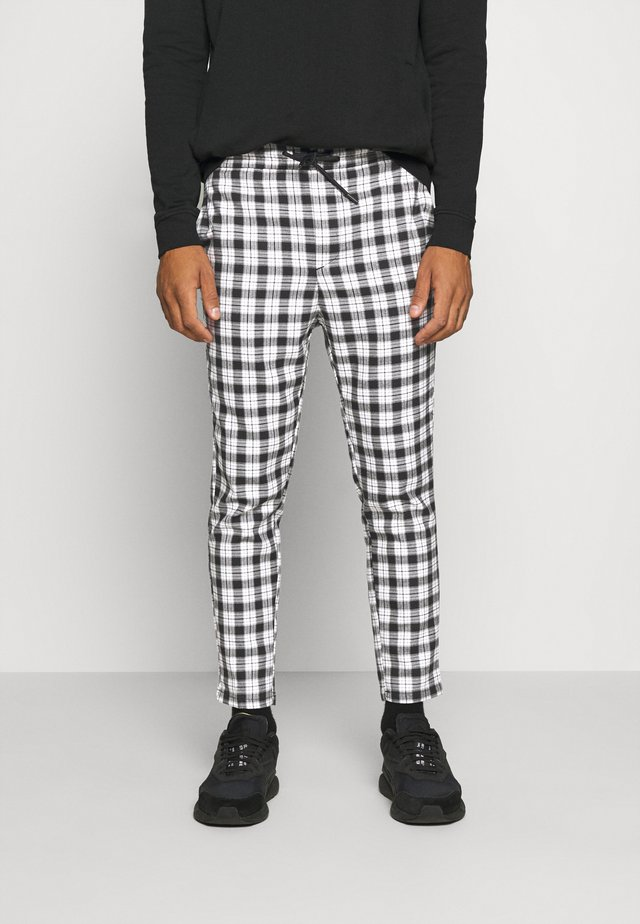 ONSLINUS CROPPED CHECK PANT - Trousers - black