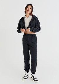 PULL&BEAR - BASIC - Zip-up sweatshirt - mottled dark grey - 1