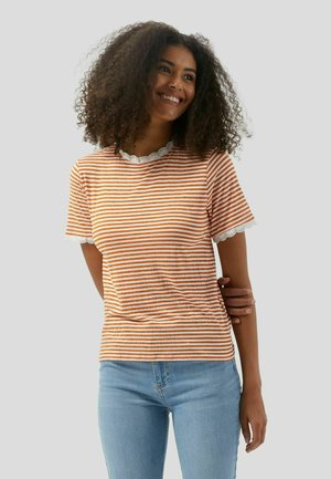 WITH STIPES AND INSERTS - T-shirt con stampa - arancio