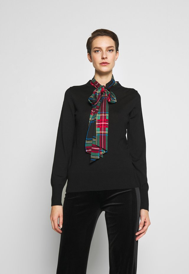 SCARF TIE MOCK NECK - Pullover - black