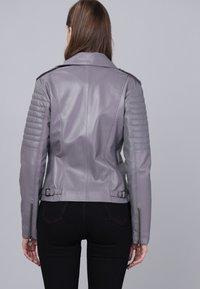 Basics and More - Leather jacket - grey - 1