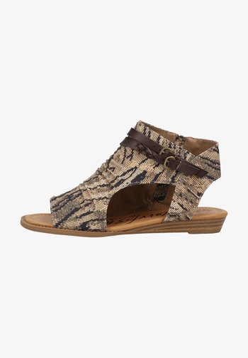 Ankle cuff sandals - tiger safari blanket/tobac dyecut
