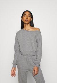 Even&Odd - Off Shoulder Sweat & Jogger Set - Sweatshirt - mottled grey - 0