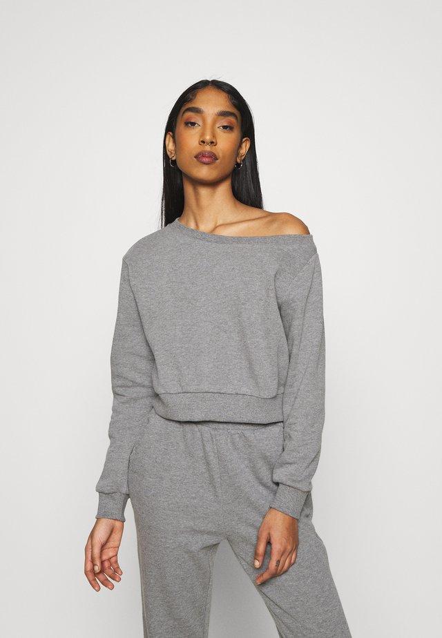Off Shoulder Sweat & Jogger Set - Sweatshirt - mottled grey