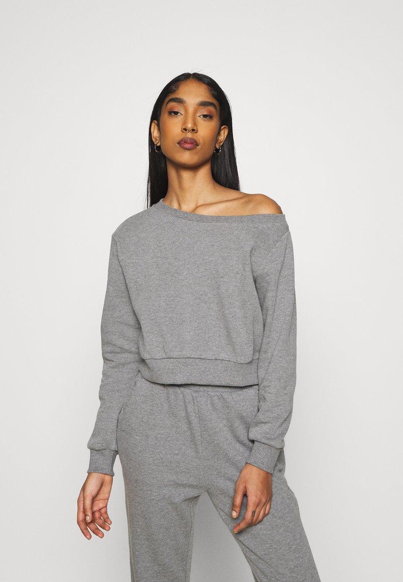 Even&Odd - Off Shoulder Sweat & Jogger Set - Sweatshirt - mottled grey