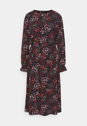 FLORAL MIDI DRESS - Trikoomekko - black