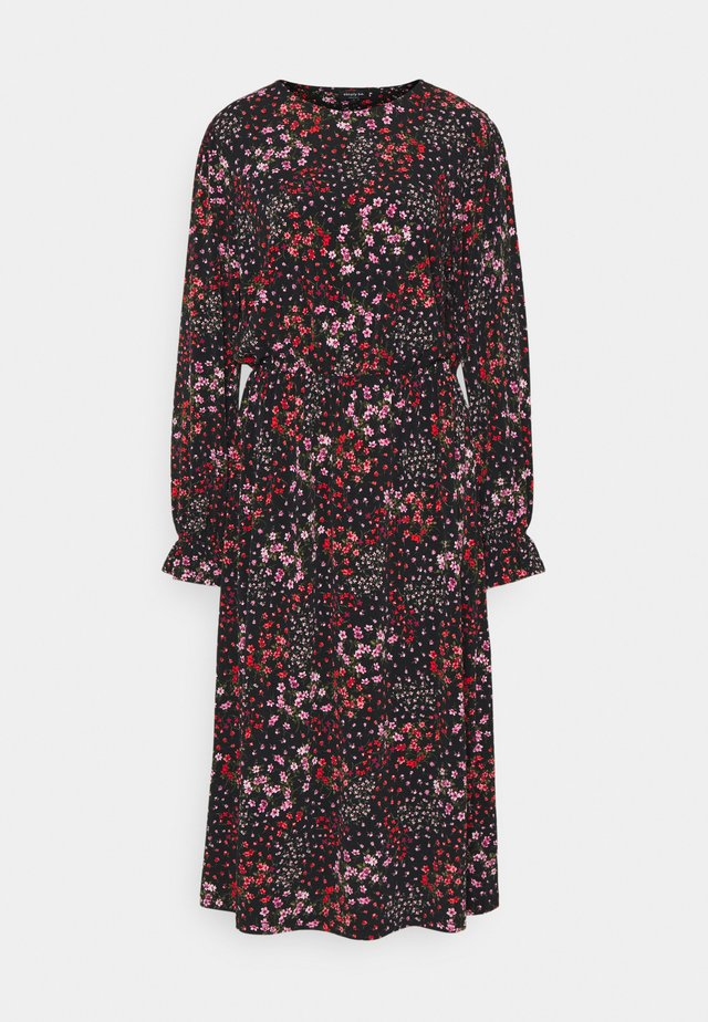 FLORAL MIDI DRESS - Žerzejové šaty - black