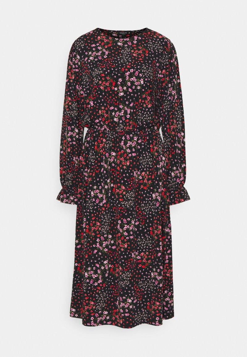 Simply Be - FLORAL MIDI DRESS - Jersey dress - black