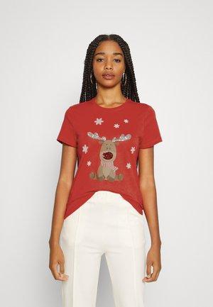 ONLXMAS CHRISTMAS - Print T-shirt - flame scarletrudolph