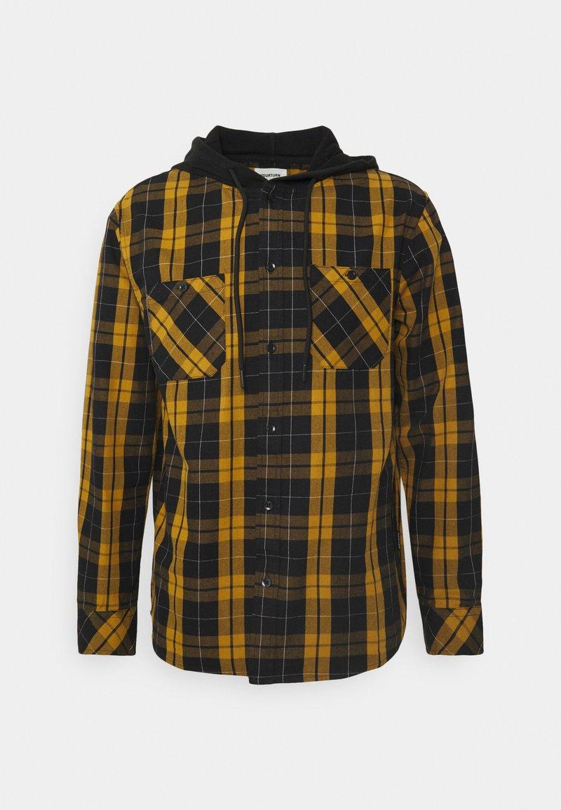 YOURTURN - UNISEX CHECK WITH HOOD  - Shirt - black/yellow