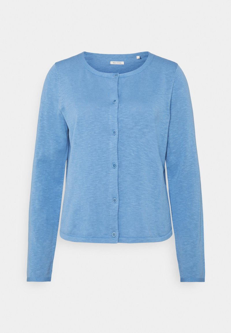 Marc O'Polo - CARDIGAN LONGSLEEVE ASHAPE WITH STRUCTURE DETAILS AND BUTTON - Cardigan - washed cornflower
