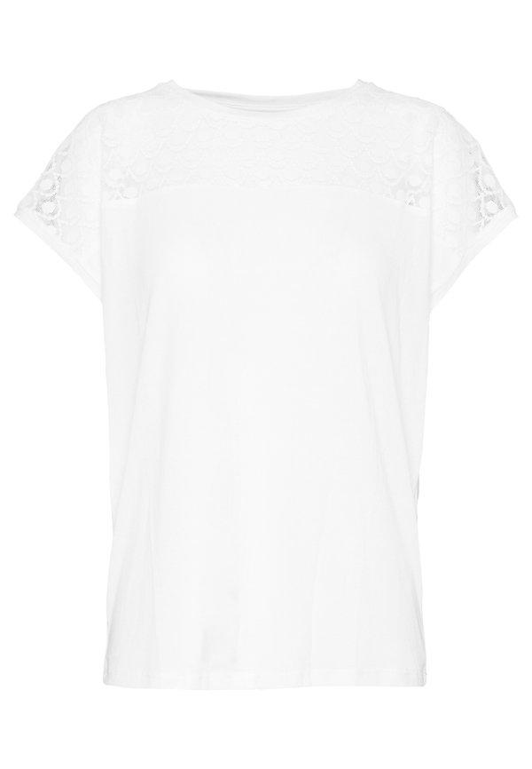 Vero Moda VMSOFIA LACE TOP - T-shirt basic - snow white Kolor jednolity Odzież Damska AUHS YY 3