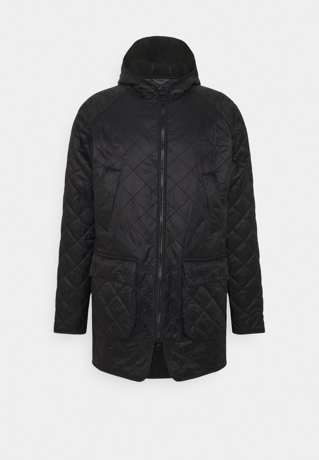 HOODED QUILTED BEDALE - Välikausitakki - black