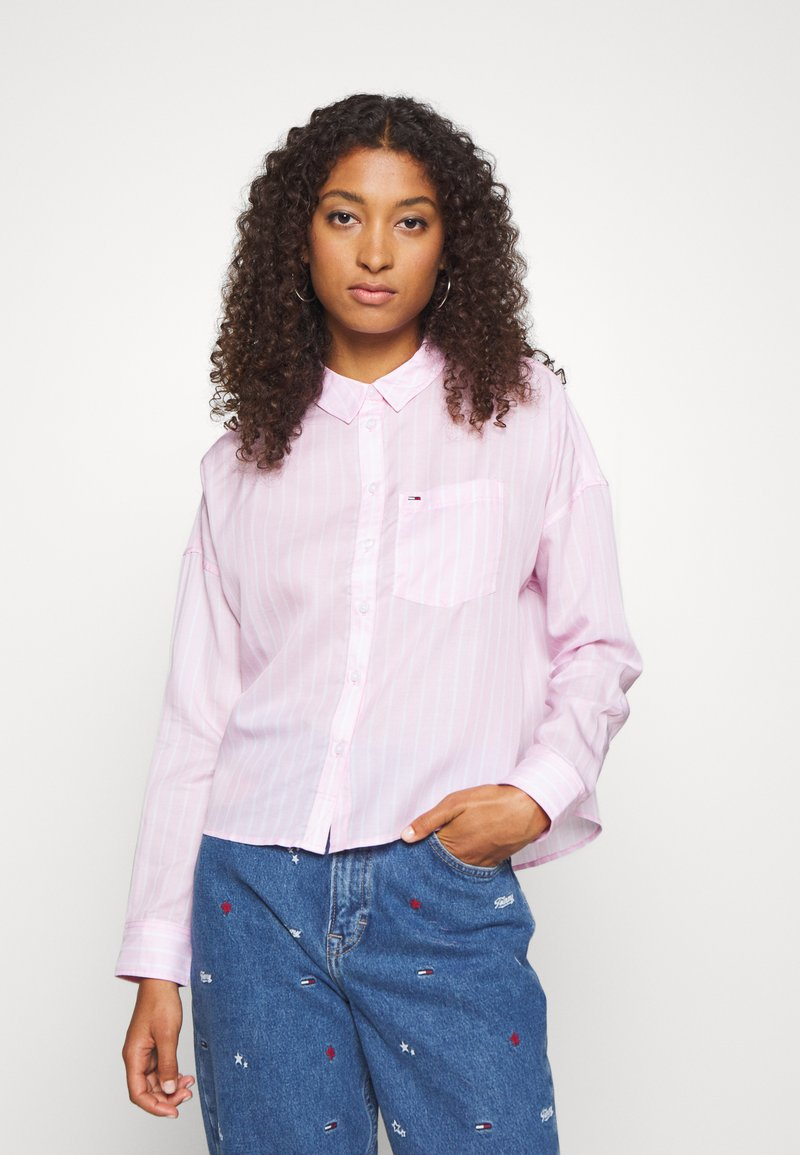 Tommy Jeans - BOLD STRIPE - Button-down blouse - romantic pink/white