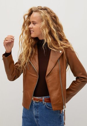 PERFECT - Leather jacket - średni brązowy
