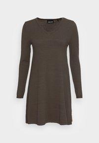 PCCENIA VNECK DRESS - Strikket kjole - black olive