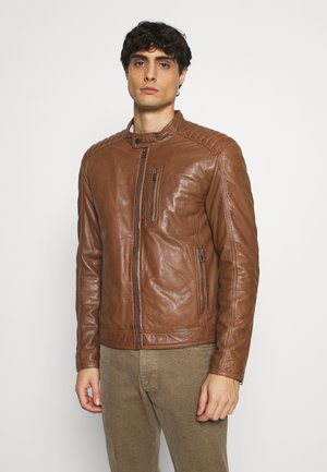 RANDALL - Leather jacket - oxblood