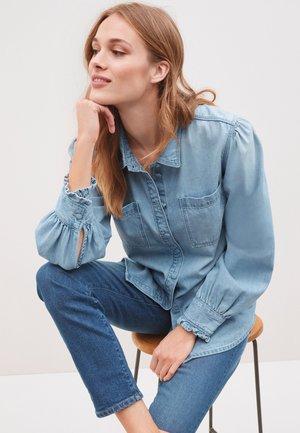 Button-down blouse - bleached denim