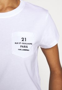 KARL LAGERFELD - ADDRESS LOGO POCKET - Print T-shirt - white - 7