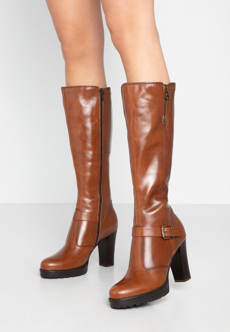 Anna Field - LEATHER BOOTS - High heeled boots - cognac