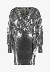 Missguided - SEQUIN PLUNGE BELTED MINI DRESS - Juhlamekko - silver - 5