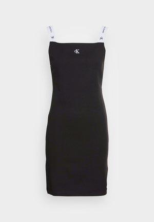 STRAP SQUARE NECK DRESS - Robe fourreau - black