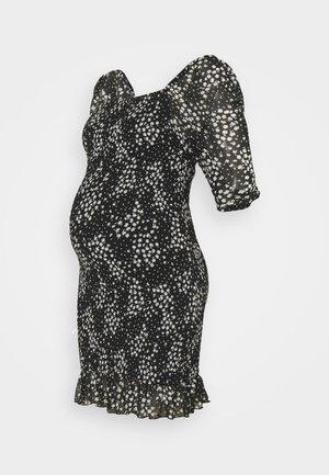 SHIRRED FLORAL MIDI DRESS - Žerzejové šaty - black
