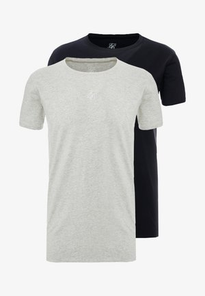 SIKSILK 2 PACK TEE - T-shirt print - black/grey marl