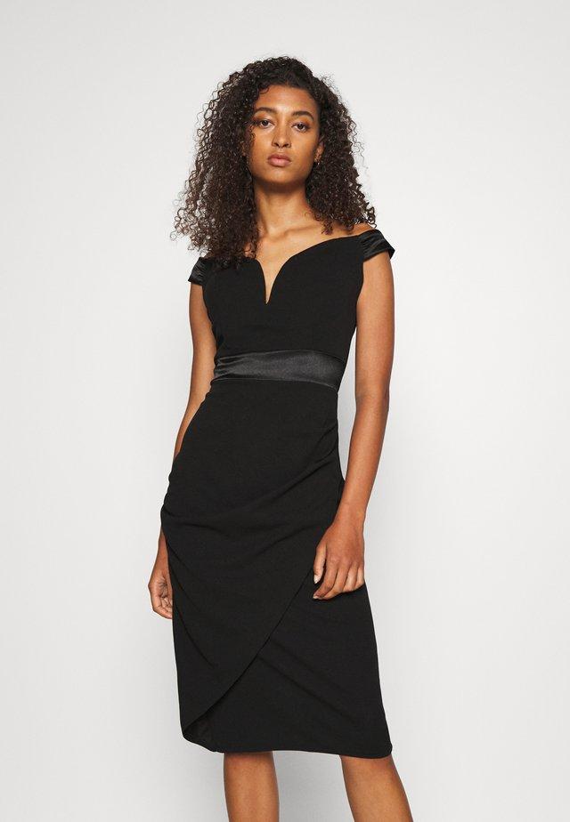 OFF THE SHOULDER MIDI DRESS - Pouzdrové šaty - black