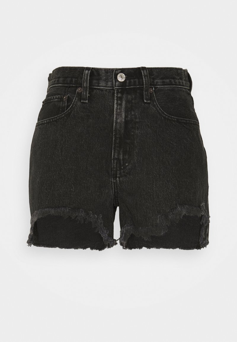Abercrombie & Fitch - CURVE LOVE MID RISE BOYFRIEND - Denim shorts - black