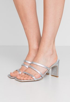 BLONDIE - Heeled mules - glitter silver