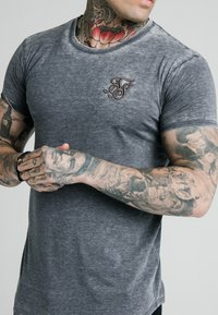 SIKSILK - BURNOUT ROLL SLEEVE TEE - Basic T-shirt - grey - 4