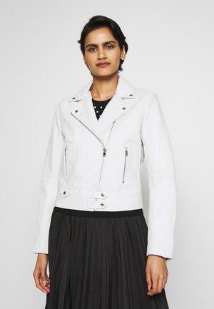 SENSIBILE CHIODO PELLE - Leather jacket - bianco