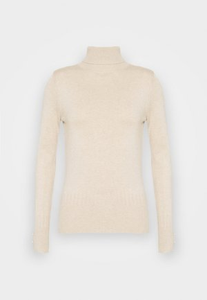 PEARL BUTTON CUFF ROLL NECK JUMPER - Svetr - oatmeal