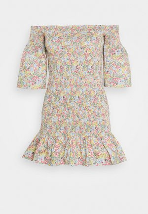 SHIRRED BARDOT MINI DRESS - Robe d'été - multi