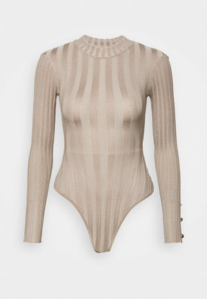 BUTTON CUFF CREW NECK BODY - Pullover - sand