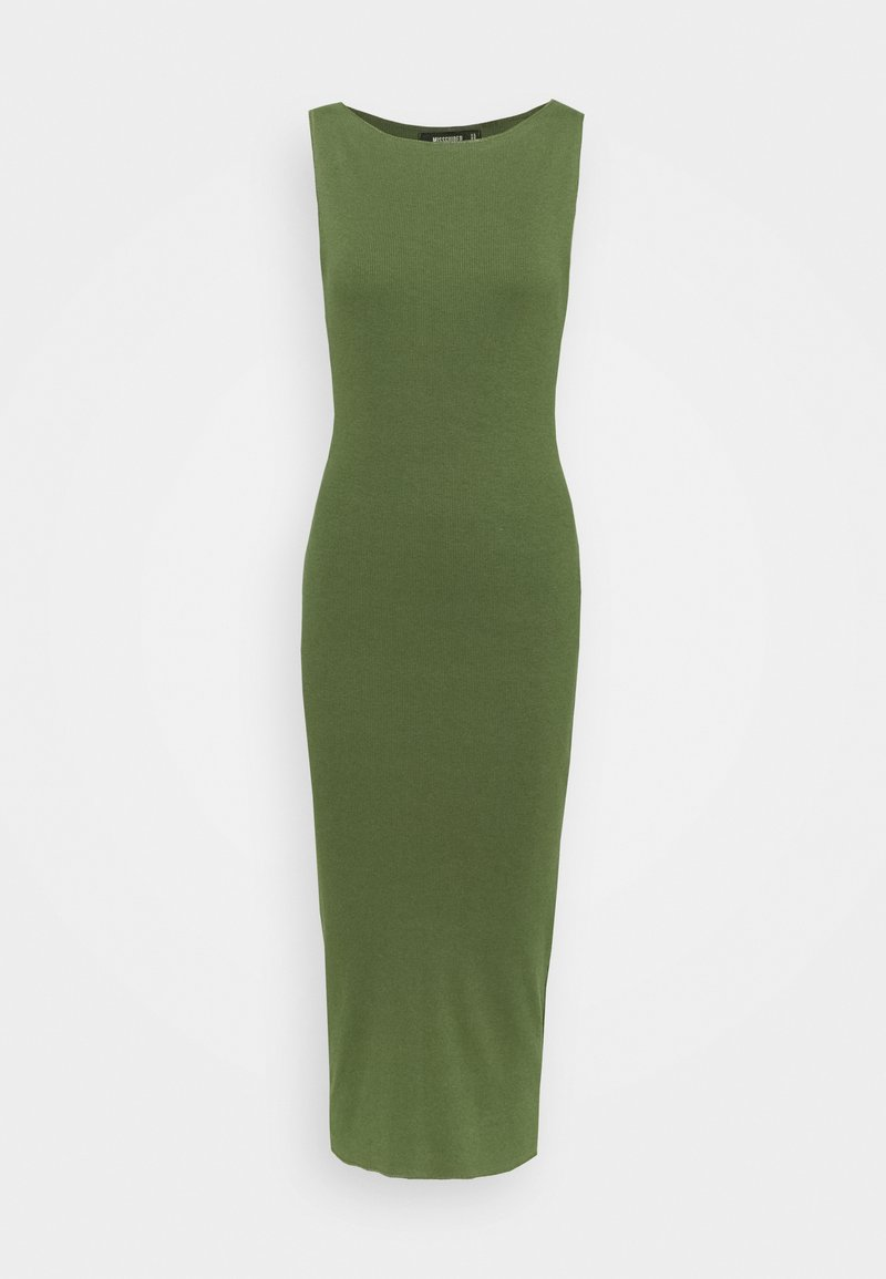 Missguided - WIDE NECK SLEEVELESS RAW EDGE MIDI DRESS - Jersey dress - green