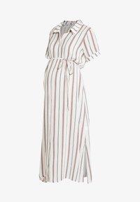 SHORT SLEEVE MIDI DRESS WITH BELT - Shirt dress - white