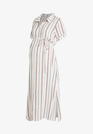 SHORT SLEEVE MIDI DRESS WITH BELT - Vestido camisero - white