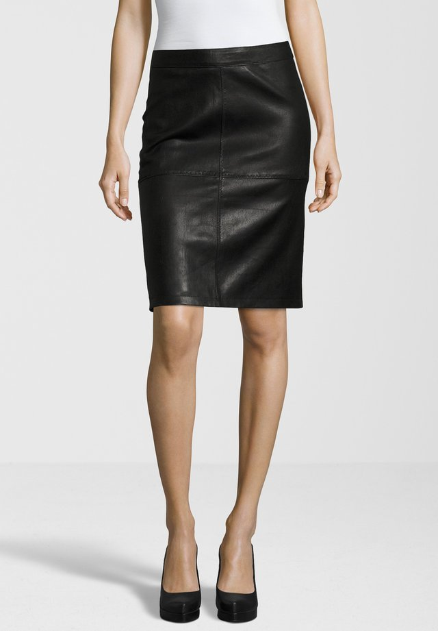 SWANTE - Leather skirt - black
